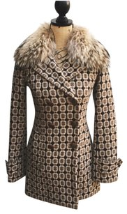 Juicy Couture Fur 70's Metallic Tweed Wool Fur Coat