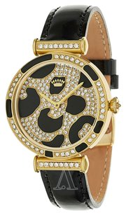 Juicy Couture Juicy Couture Womens Watch SS Gold Crystals Cheetah Leopard Leather