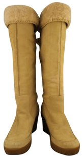 Juicy Couture Womens Leather Knee High Beige Boots
