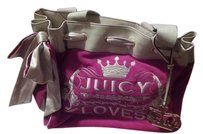 Juicy Couture Leather Daydreamer Crean Velour Shoulder Bag