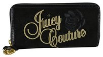 Juicy Couture Rose Flower Black Long Continental Zip Around Wallet