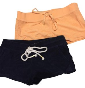 Juicy Couture Terry Terry Cloth Juicy Mini/Short Shorts Navy and orange
