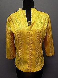 Juliana Collezione Mustard Textured Blazer And Cami Twinset 860a Sweater