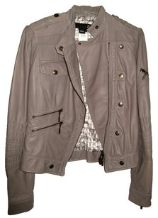 Just Cavalli Moto Grey Leather Jacket