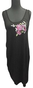 Karen Kane short dress Black Floral Detail Rayon Sleeveless Knee Length Sma11607 on Tradesy