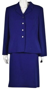 Kasper Kasper Petite Womens Blue Skirt Suit 14p Wool Blazer Knee Length Wtw