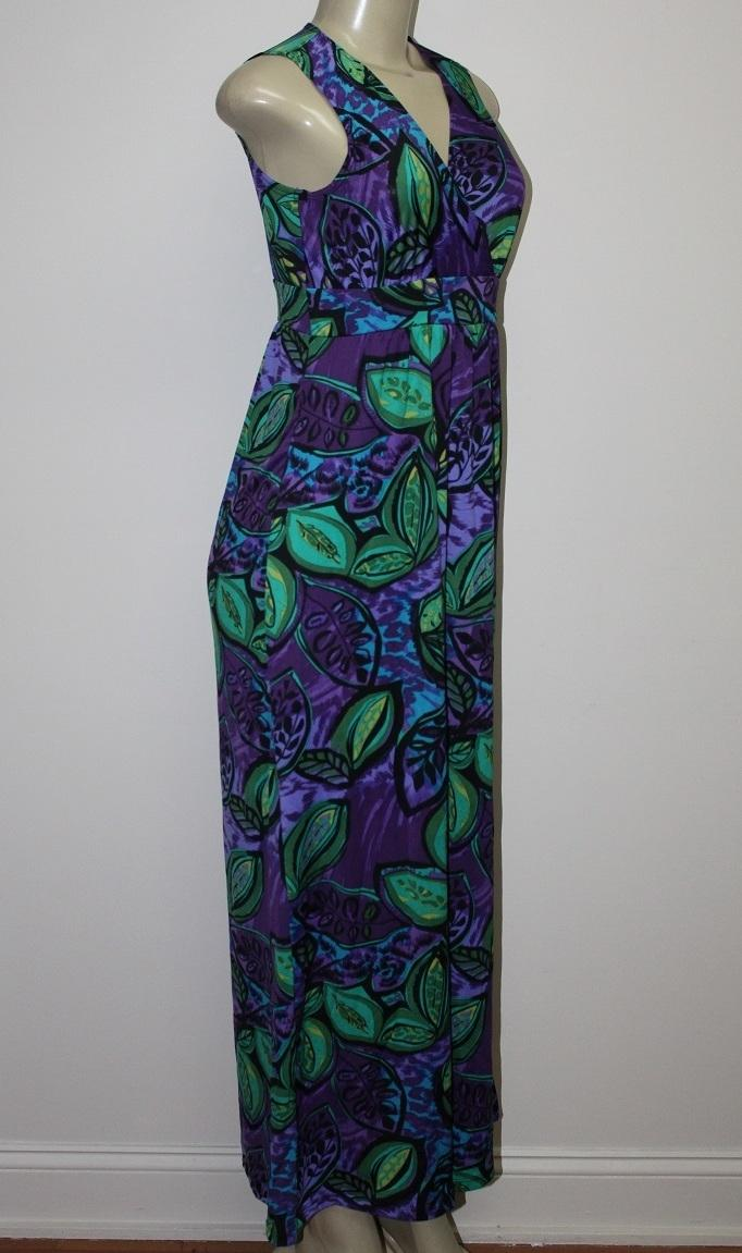 New Kate Mallory Stretch Knit Sleeveless Crossover Front Maxi