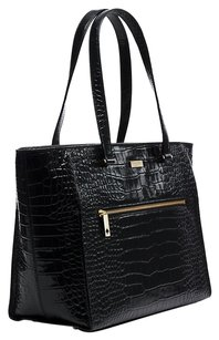 Kate Spade Embossed Leather Gold Tote in Black