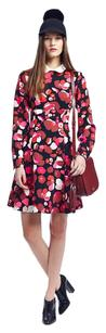 Black / Red / White Maxi Dress by Kate Spade Falling Florals Floral Print Collar