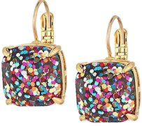Kate Spade KATE SPADE 12K Gold Square Multi Glitter Drop Earrings W/KS Dust Bag