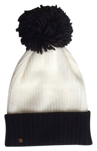 Kate Spade Kate Spade Black And White Color Blocked Beanie With Pom