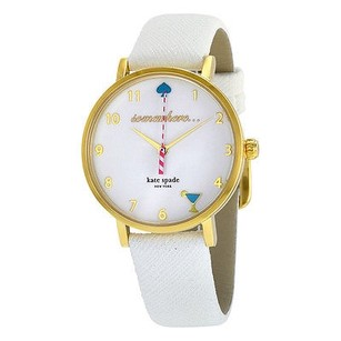 Kate Spade Kate Spade Metro White Enamel Dial Leather Strap Ladies Watch