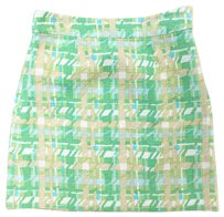 Kate Spade Mini Houndstooth Bright Woven Mini Skirt Green, Beige