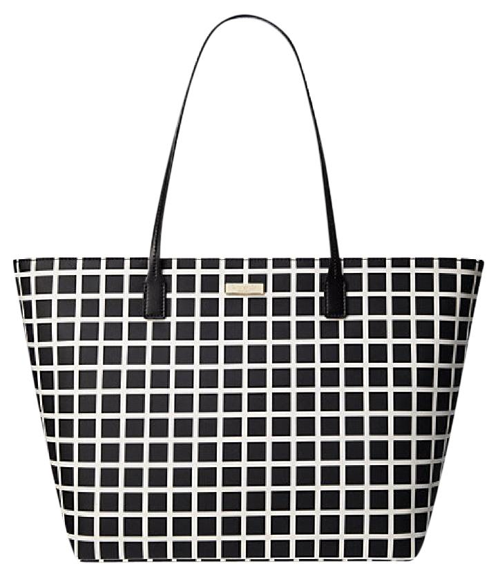 Kate Spade Large Margareta Checkered White Zip Top Black Tote Bag ...