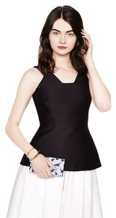 Kate Spade Peplum Structured Top Black