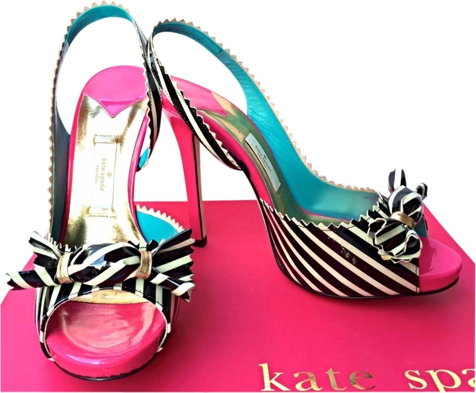 Kate Spade Out Fun Night New York Stripes Rare Pink Black Cream Turquoise  Gold White Pumps ...