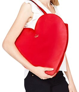 Kate Spade Red Heart Handbag Tote in red