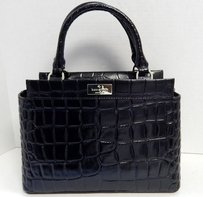Kate Spade Becky Croc Leather Rt Satchel in Black