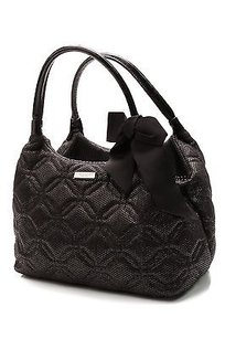Kate Spade Quilted Fabric Carmel Valley Stevie Bow Satchel in Black