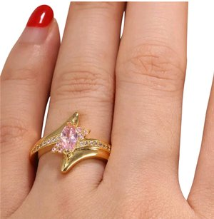 Kay Jewelers New 14k Gold Over Sterling Marquise Cut Pink & White Sapphire Ring