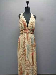 Brown Yellow Blue Maxi Dress by Kay Unger York Halter Neck Silk Sma1757