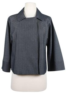 Kenneth Cole Reaction Womens Striped Blazer Rayon Blend Gray Jacket