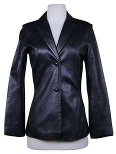 Kenneth Cole Womens Leather Casual Coat Black Jacket