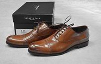 Kenneth Cole Join The Club Cognac Leather Cap Toe Oxfords Shoes
