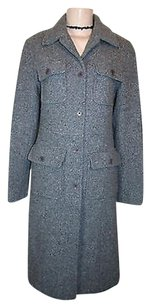 Kenneth Cole Reaction Blue Tweed Wool Blend Long Winter Lined Coat