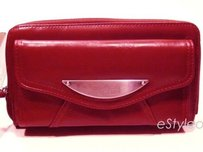 Kenneth Cole Reaction Kenneth Cole Clutch Wallet Zip Around Faux Leather Dark Pink