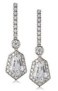 Kenneth Jay Lane Cz By Kenneth Jay Lane Dangle Framed Trapezoid Dazzling Red Carpet Earrings