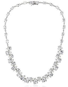 Kenneth Jay Lane Cz By Kenneth Jay Lane Rhodium Plt Graduated Oval Stone Red Carpet Necklace