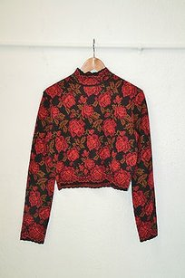 Kenzo Wool Cropped Rose Print Sweater