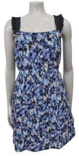 Kimchi Blue Urban Outfitters Blue Floral Ruffle Exposed Zip Back Dress