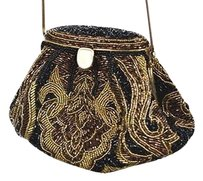 La Regale Womens Beaded Black Clutch