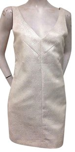 Ladakh Cream Gold Jaquard Metallic Dress
