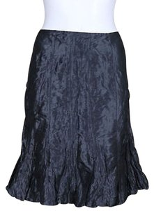 Lafayette 148 New York Womens Metal Silk Above Knee Evening Skirt Charcoal