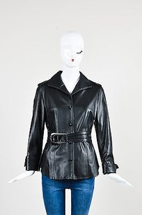 Lafayette 148 New York Leather Belted Pleated Button Down Black Jacket