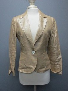 Lafayette 148 New York Lafayette 148 Tan Silver Metallic Linen Long Sleeve 1 Button Blazer Sma2534