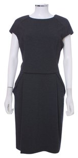 Lafayette 148 New York Leather Wool Sheath Dress