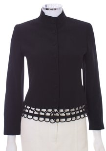 Lafayette 148 New York Mandarian Looped Lined Petite Black Blazer