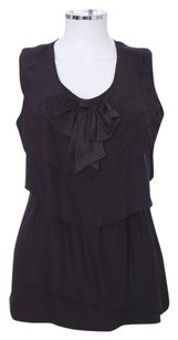 Lafayette 148 New York Ny Ruffled Sleeveless Silk Layered Top Black