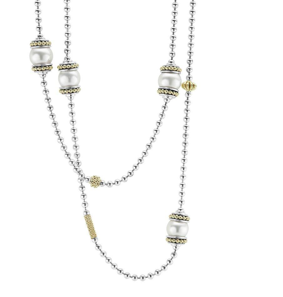 Lagos Luna Pearl Necklace with Sterling Silver, 36