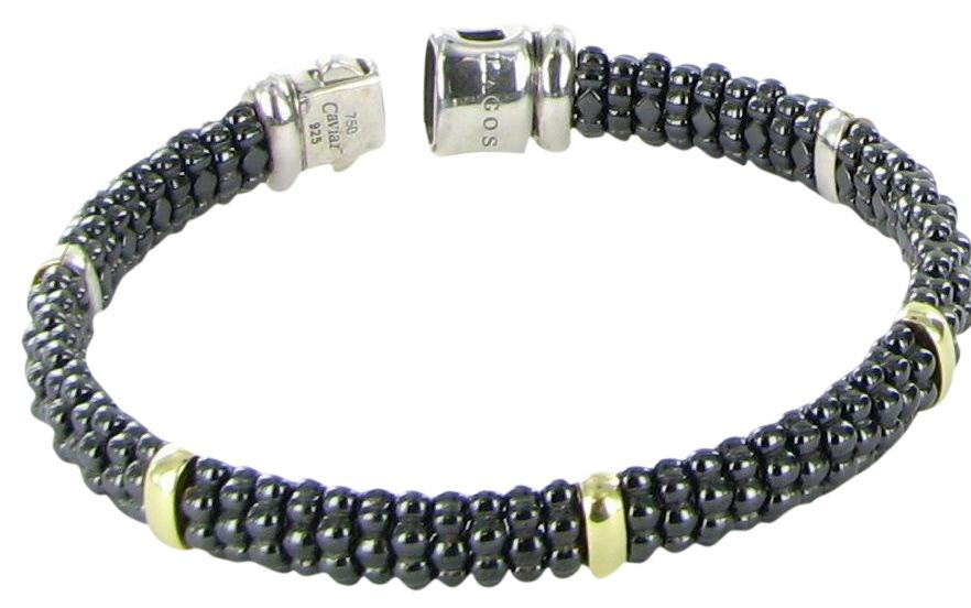 Lagos 9mm 18K Gold & Black Caviar Bracelet