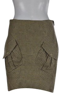 L.A.M.B. Lamb Womens Plaid Pencil Linen Silk Above Knee Casual Skirt Green
