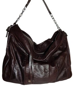 Lambertson Truex Chocolate Leather Chain Slouchy Italy Shoulder Bag