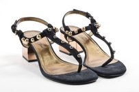 Lanvin Gold Tone Suede Black Sandals
