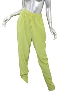 Lanvin Womens Chartreuse Silk Relaxed 386 Pants