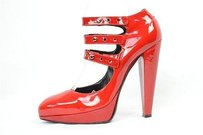 Lanvin Womens Hot Red Patent Leather High Heel Strappy Ankle Sandal Reds Pumps