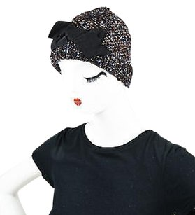 Lanvin Lanvin Brown Navy Wool Silk Knit Tweed Metallic Bow Beanie Hat